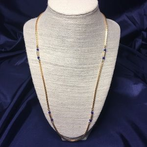 Gold with blue bead detail single strand necklace